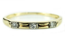 VTG Women's .09 ct G/VS1 3 Stone Band Ring in 14k Solid Yellow Gold