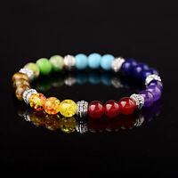 7 Chakra Natural Stone Reiki Energy Healing Women Men Charm Bracelets Jewelry