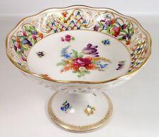 Vtg Schumann Bavaria Dresden Porcelain Reticulated Bon Bon Dish Pedestal Compote