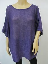 Purple Shimmer Lightweight Cable Knit Scoop Neck Poncho Sweater Top Plus Sz 1X