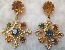 Mogul YVES SAINT LAURENT Maltese Cross Jeweled Earrings Runway Couture YSL Vinta