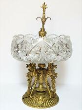 Antique Gilt Bronze Cut Crystal Centerpiece Compote