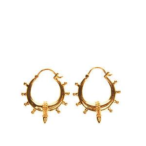 RRP €185 MAANESTEN Gold Plated 925 Silver Spheres Hoop Earrings Snap Closure