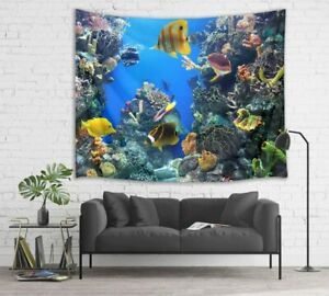 Deep Sea Coral Tropical Fish Tapestry Wall Hanging for Living Room Bedroom Decor