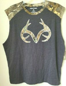Men's 2XL Realtree Xtra Muscle T-Shirt Camo Antlers Size 50-52 Cotton Poly Blend