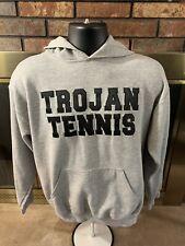 Vintage Trojan Tennis Pullover Hoodie Hooded Sweatshirt Mens Size Medium
