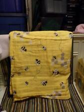 Handmade Bright Yellow W/ Bees cotton gauze wrap/ sheet 48 x 48 #4