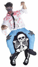 Skeleton Zombie Riding Piggyback Adult Costume Funny Halloween Morph Suits