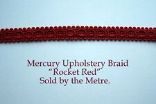 "Red Upholstery Braid ""Mercury Rocket Red"" 15mm wide (sold by the Metre)"