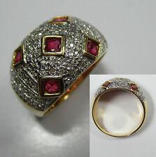 139 - Bezaubernder Ring - Gold 750 - Rubine Diamanten ---  -978-