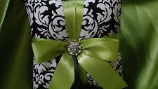 DAMASK RINGBEARER Pillow Black White Lime Chartreuse Wedding Ring Pillow Dandy