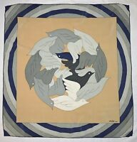 Designer GRES Paris BIRDS Dove GEOMETRIC Beige Green Blue Hand Rolled Silk SCARF