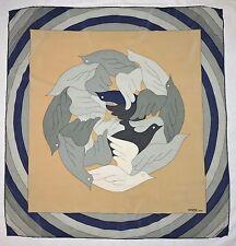 Designer GRES Paris BIRDS Dove GEOMETRIC Beige Green Blue Hand Rolled Silk Scarf