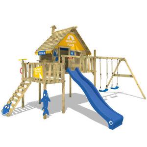WICKEY Stelzenhaus Spielturm Smart Resort Baumhaus Kletterturm Schaukel Rutsche