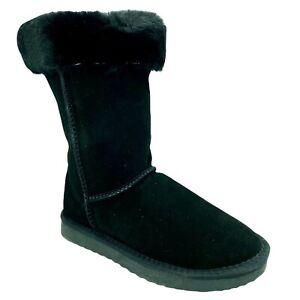 Snowpaw Ladies Womens Stylish Pull On Black Suede Sheepskin Mid Calf Boots New