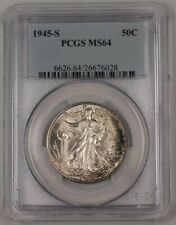 1945-S Walking Liberty Silver Half Dollar Coin 50c PCGS MS-64 Lightly Toned 1A
