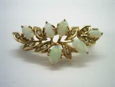 VINTAGE OR MODERN SMALL 9CT GOLD NATURAL AUSTRALIAN OPAL & DIAMOND BROOCH
