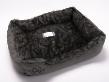 Fur & Leather Dog Cat Puppy Kitten Pet Bed Basket Mat Cushion Pillow Grey Large
