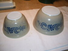 Pair of Vintage Pyrex Tan Blue Homestead Mixing Bowls