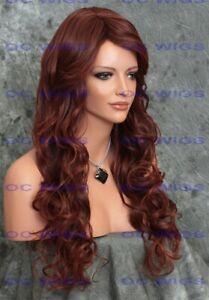 Extra Long Loose Wavy Curls Heat Safe Human Hair Blend Wig Dark/Red Auburn EVBO