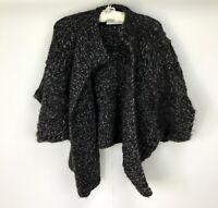 Nicole Farhi Jumper Cardigan Size Large UK 16 Black Grey Charcoal Short Sleeve