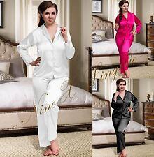 Nine X Plus Size Lingerie S-6XL Satin Pyjamas Long Sleeve Nightwear Silk PJ'S