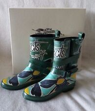 Burberry Holloway Rubber Rain Boots Insects Bee Print 36 EU 6 US Runway Green