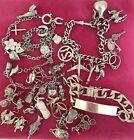 Job Lot Vintage Sterling Silver Charm Bracelets Loose Charms ID Bracelet 142g