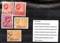 Seychelles KGVI mint/used collection Cat Val £105 SG139a-140ab see list WS9600