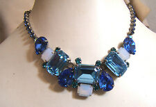 NEW Sapphire Blue Green Opal Crystal Rhinestone Sorrelli Necklace 16-20""