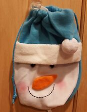 Holiday Time Blue/White Snowman Drawstring Felt Hat Christmas Gift Bag, 8