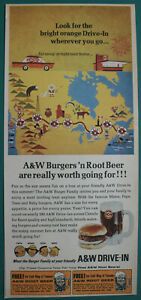 1966 A&W print ad Burger Family at A&W Drive-In