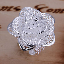 925 Sterling Silver Zirconia Rose Flower Band Ring Size 8 B138