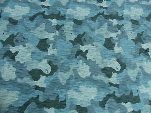 Stoff 50 cm Hilco Baumwoll Sweaty Camouflage Jeans Blau Grau Wild Camu Öko-Tex