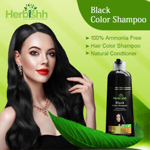 500 ML HERBISHH COLOR SHAMPOO HERBAL HAIR COLOR SHAMPOO DYE AMMONIA FREE BLACK