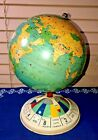 """1950's Replogle Magnetic Air Race Globe Game 8"""" Spin Dial Base Tin Litho Clean"""