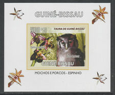 Guinea-Bissau 5766 - 2008 FAUNA - EAGLE OWL & ORCHID  imperf deluxe sheet u/m
