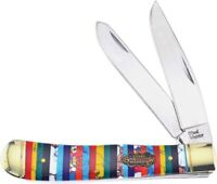 Frost Cutlery Trapper Pocket Knife Stainless Steel Blade Multicolor Stone Handle