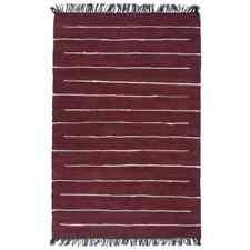 vidaXL Vloerkleed Chindi Handgeweven Katoen Bordeauxrood Kleed Vloertapijt Mat