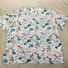 54071f21738 Scrubs N' Stuff Scrub Top Size L White Toy Animal Print Giraffe Tiger  Elephant