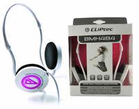 CLiPtec� Velocity-Lite Neck band Deep BaseStereo Headphones & Mic White/Pink