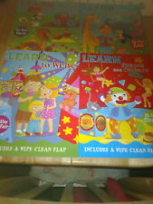 4 EARLY LEARNING EYFS KS1 WIPE CLEAN LEARN TO COUNT WRITE SHAPE COLOURS ABC 123