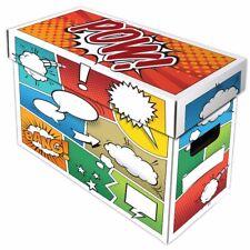 5 BCW Short Comic Book Boxes - POW! Art Cardboard Storage 150-175 Comics