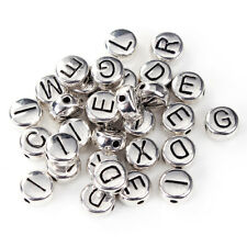 100 RANDOMLY MIXED SILVER METAL ROUND ALPHABET~INITIAL~LETTER BEADS~6mm (97H)