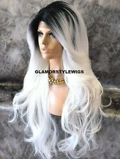 Human Hair Blend Hand Tied Lace Front Full Wig Long Ombre Off Black White