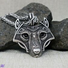 Viking Wolf Head Pendent Necklace