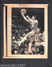 Julius Erving 1983 76ers vs Lakers Fingeroll Small Vintage A/P Laser Wire Photo