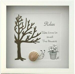 Pebble Art Picture Framed Relax Smell The Flowers Retirement Birthday Gift Snail