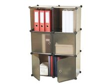 Flexibles Regalsystem Steckregal Set 6 Modulen 4 Türen Büro Regal Modular Braun