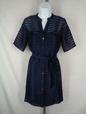 Banana Republic Shirt Dress Size 2 Navy Blue Shadow Stripe Sheer Button